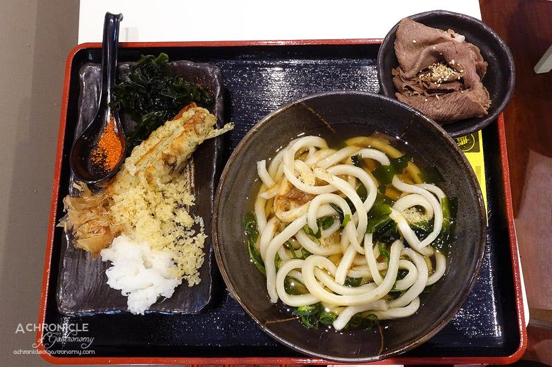 Udon Yasan - Medium Hot Soup Udon with Fish Tempura, Wagyu Sukiyaki ($9.20)