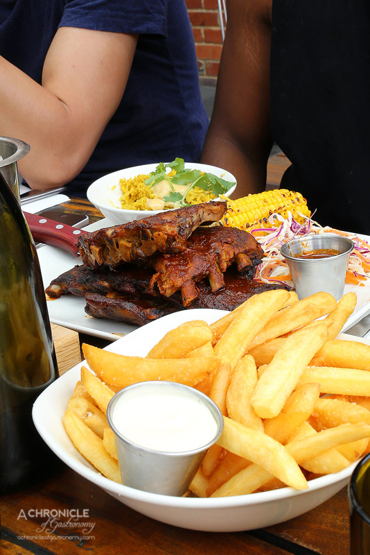 American Hotel - Kansas Style Pork Ribs - Tomato and Molassas Glaze, Dirty Rice, Coleslaw ($30,30 for large), Fat Fries ($8.70 large)