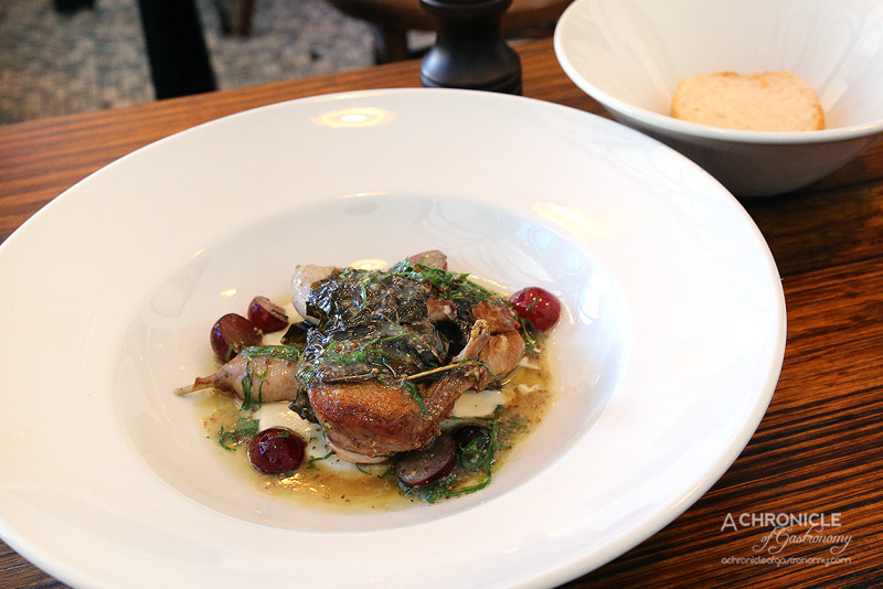 Saint Urban - Quail Wrapped in Vine Leaf, Grapes, Verjus, Almond Cream ($19)