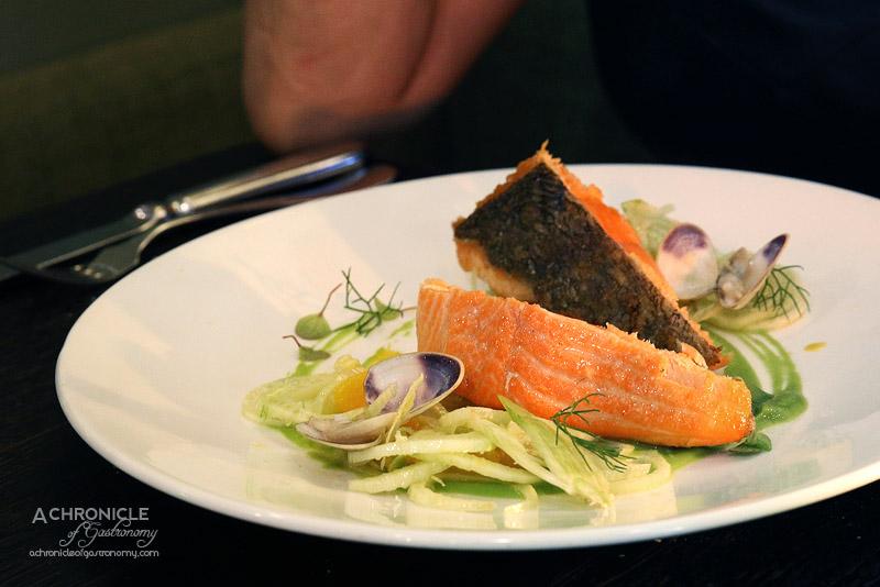 Sarti - Trota Salmonata - Ocean Trout, Fennel and Orange Salad, Pea Puree, Clams