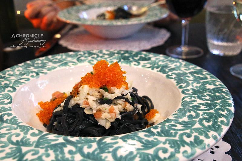 Sarti - Spaghetti alla Chitarra - Black Ink Pasta, WA Blue Swimmer Crab, Fresh Tomato, Garlic, Chilli
