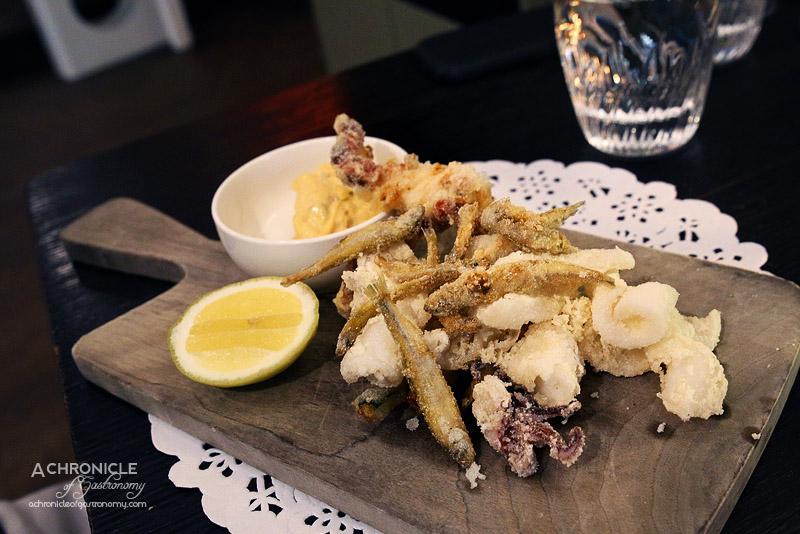 Sarti - Fritto Misto - Calamari, Soft Shell Crab, School Prawns, Zucchini, Chilli Tartare