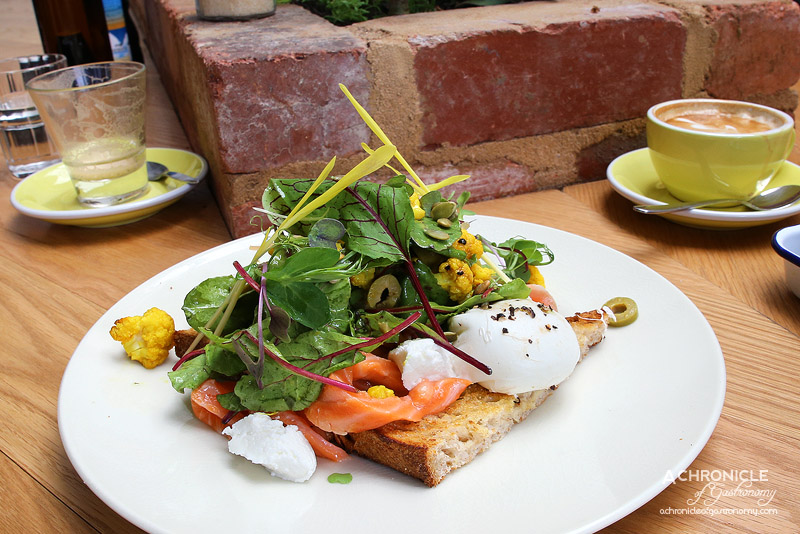 Short Straw - Citrus-cured NZ King Salmon, Roasted Cauliflower, Beetroot Leaves, Green Olive, Goats Curd, Poached Egg, Rye Toast ($17)
