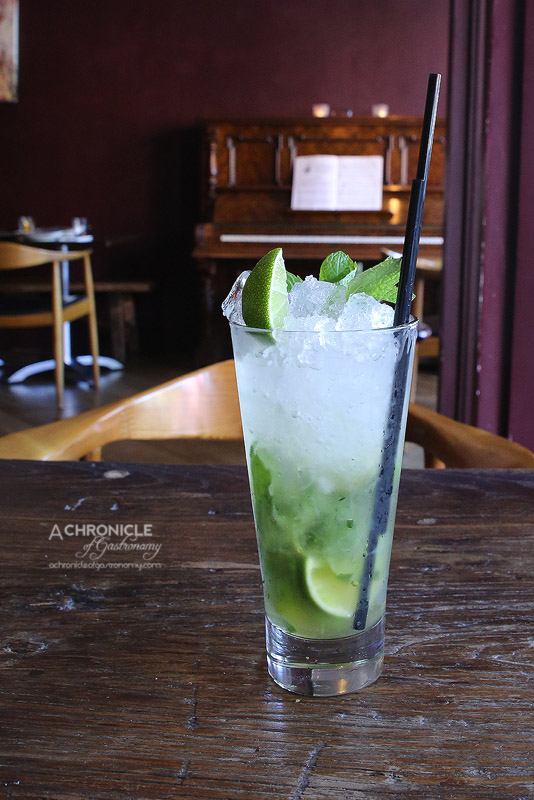 The Piano Restaurant & Bar - Apple Mojito Mocktail - Muddled Fresh Mint, Lime and Apple Juice ($10.50)