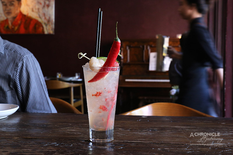 The Piano Restaurant & Bar - Crazy Lady Boy - Vodka, Tequila, Strawberry, Apple Juice, Sliced Chilli, Lime ($17.50)