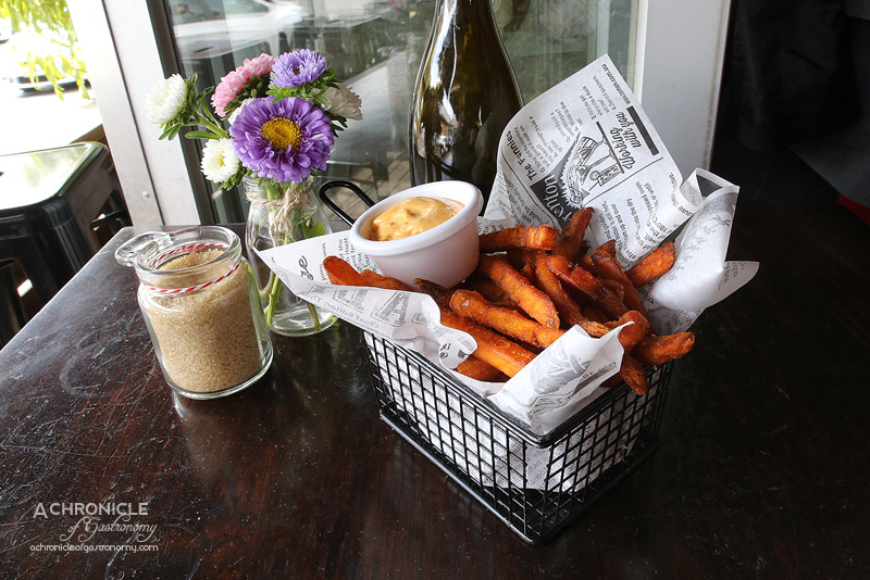 Thick-cut sweet potato chips with spicy smoked paprika mayonnaise ($10 ...