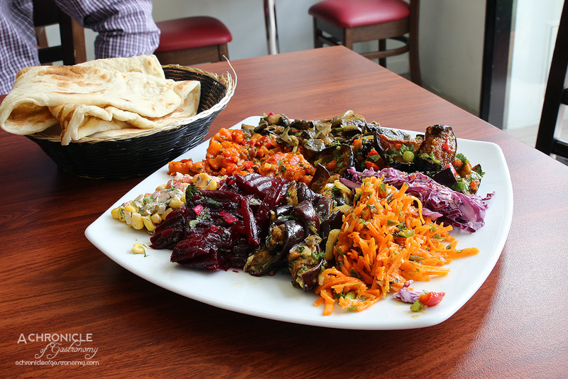 Hilulim - Salad Platter - Two type of eggplant, carrot, beetroot, corn, mushroom, coleslaw tomato
