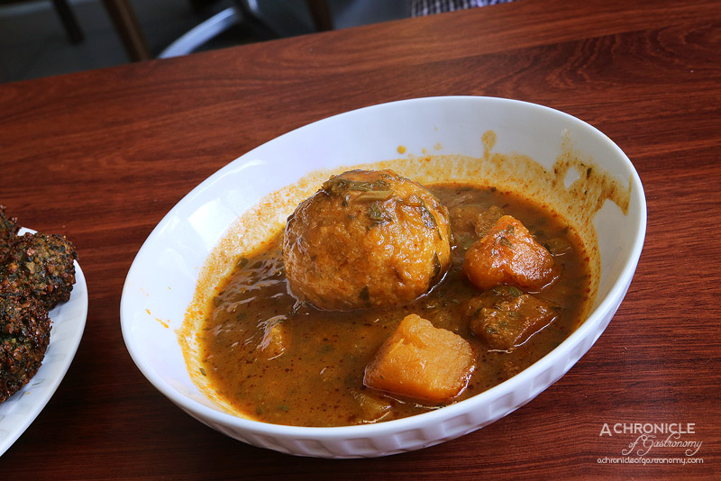 Hilulim - Persian Kubbe Soup - Semolina and Bulghur Dumplings stuffed with Minced Meat, Rich Vegetable Soup, Z'chug and Pita (small, $10)