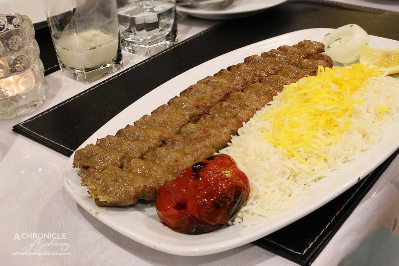 Kolbeh Persian Cuisine - Koobideh Kabab - 2 skewers of minced lamb served with grilled tomato & aromatic basmati rice ($17.50)