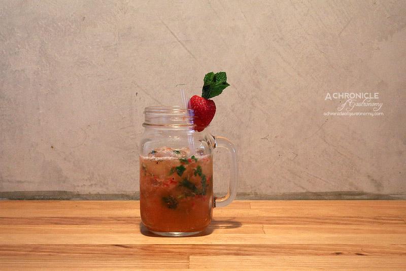 Little Oscar - East Brunswick Cobbler - Vodka, Sav Blanc, Muddled Strawberries, Lemon, Mint ($15)