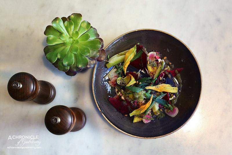 Pastuso - Salpicon de Vegetales - Seasonal Baby Vegetables, Zucchini Flowers, Vanilla Poached Fennel, Huacatay, Goats Cheese Curd