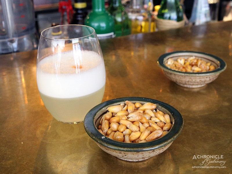 Pastuso - Pisco Sour and Cancha - Dry Roasted Andean Corn Kernels