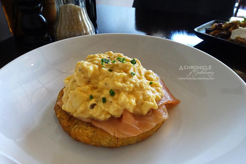 The Firehouse - Potato Rosti, Huon Smoked Salmon, Truffle Scented Scrambled Eggs ($21)