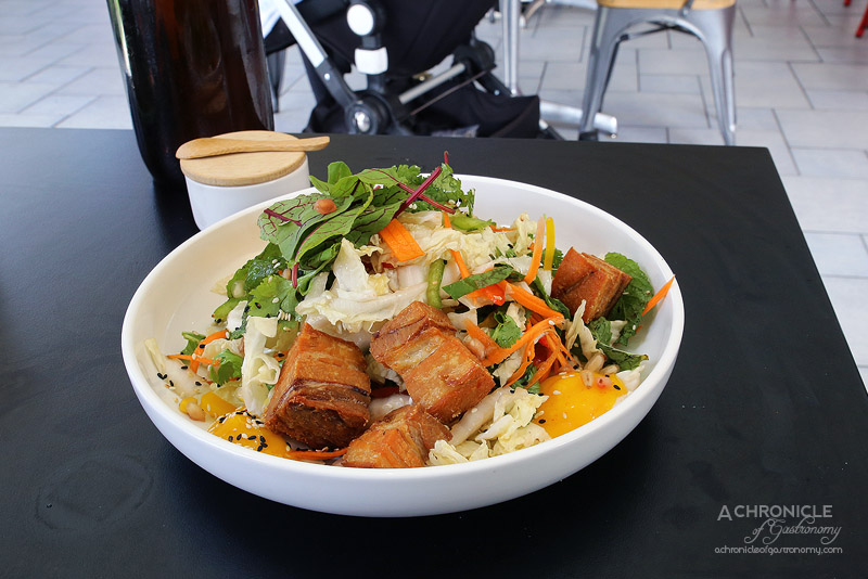 The Tradesman - Twice Cooked Pork Belly with Asian Coleslaw, Palm Sugar Dressing, Fresh Asian Herbs, Sesame Seeds, Chilli Mayo ($16)