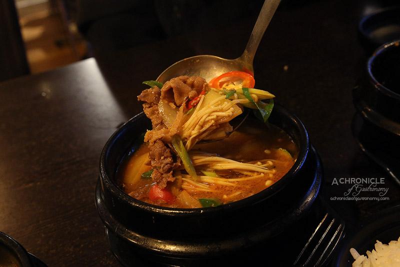 Arisoo - Soybean Paste Stew with Beef Brisket, mushrooms, onions, tofu ($15)