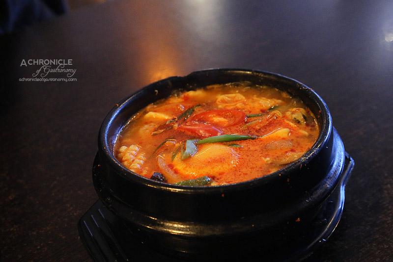 Arisoo - Soondubu Jigae - Spicy Soft Tofu Stew with Seafood and Egg ($15)