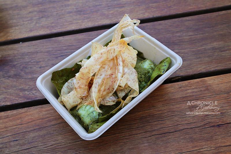 Bang Bang Pop-up at Boatbuilders Yard - Barramundi Steamed in Banana Leaf - Sticky Rice, Tomato Relish, Taro Chips ($13)