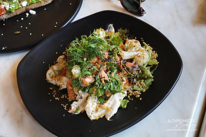 Cafe de la Ville - Hot smoked ocean trout salad with pickled fennel, roasted cauliflower, cauliflower puree, pink grapefruit segments, puffed quinoa, tangy vinaigrette