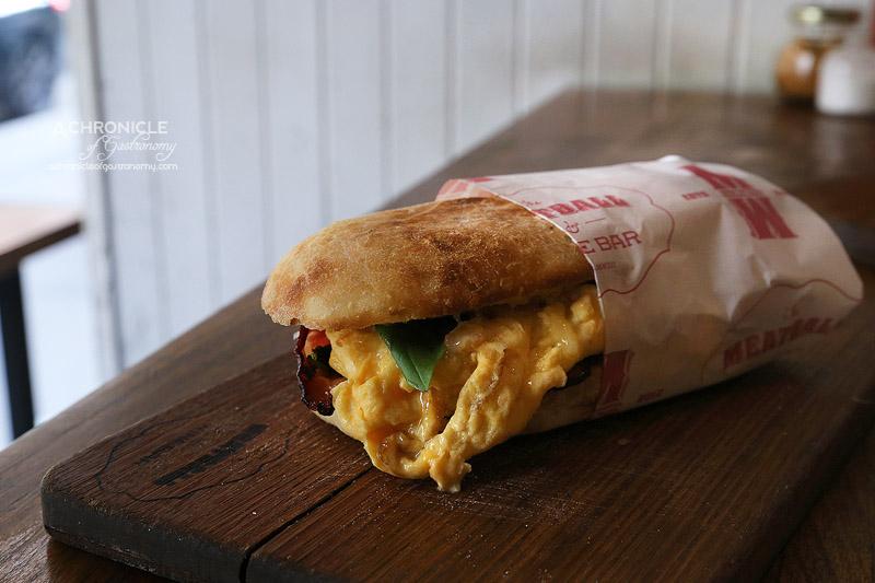 The Meatball and Wine Bar - Breakfast Hero - Truffled Scrambled Eggs, Bacon, Spinach, Cheddar, Basil Panini ($13.50)