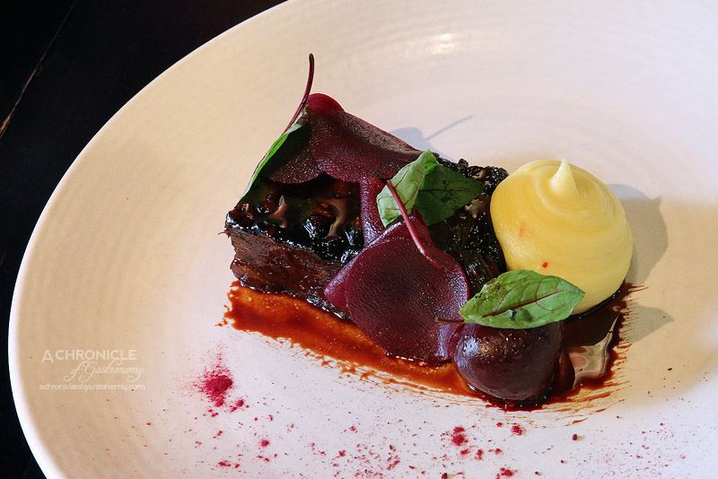 Moet & Chandon Champagne Lunch Morris Jones - BBQ Short Rib - Caramel glazed, variation of beetroot