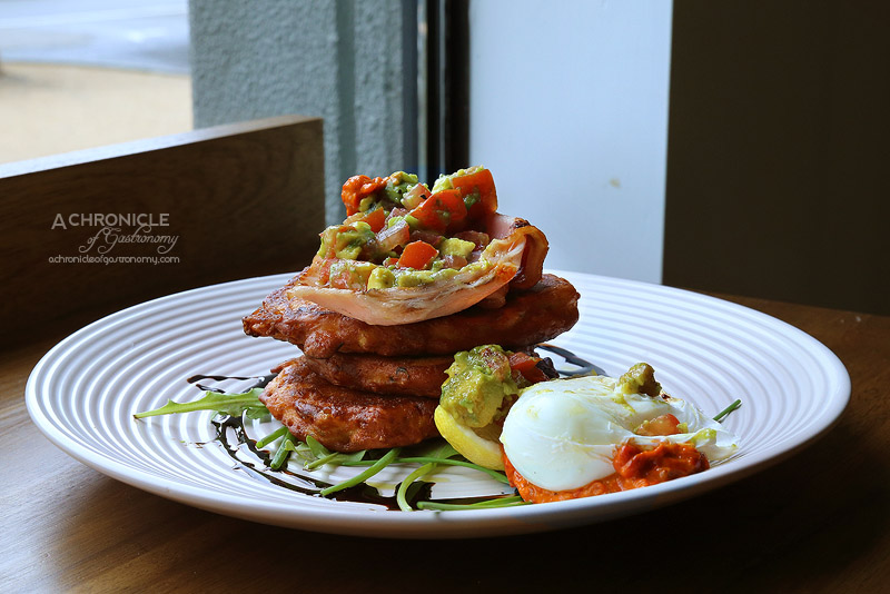 Paper Scissors - Corn Fritter Stack with bacon, avocado and tomato ...