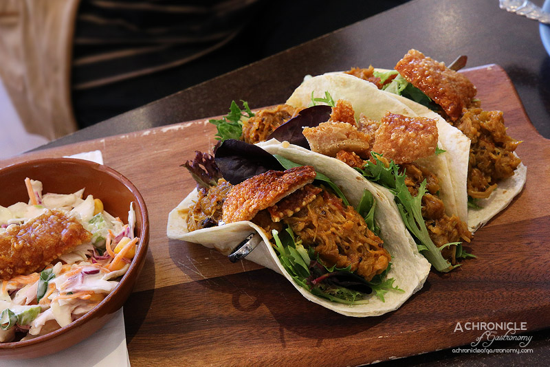 The Left Handed Chef - Pulled Pork Tacos - Slowly roasted pork, hot apple chutney, coleslaw, crackling ($16.50)