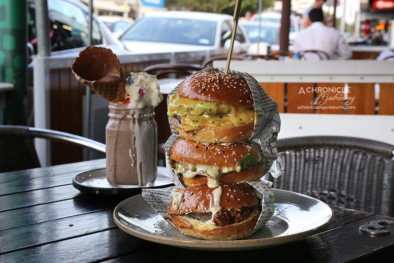 Three One 2 One - Ghetto Burger, Grilled Heaven Burger, Los Pollos Hermanos Burger