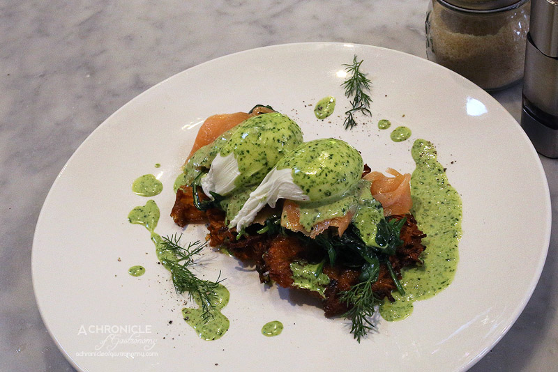 Coffeehead 1961 Coffee - Mint and carrot hashbrowns, poached eggs, smoked salmon, spinach, green hollandaise ($18.90)