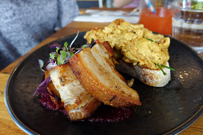 Frances Food and Coffee - Crispy pork belly with beetroot relish, chilli scrambled eggs ($18)