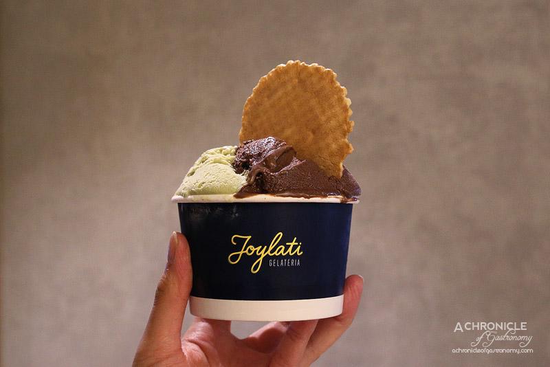 Joylati - Large Cup - Nocciola (Piedmont Hazelnuts, Tonda Gentile - Langhe), Pistacchio (100% pure sicilian pistachio), Chocolate (Coeur de Guanaja Chocolate 80%) ($8.50, large cup)