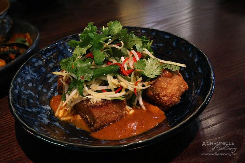 Burma Lane - Pork Belly w Pickled Green Mango, Tamarind, Tumeric & Herbs ($31)