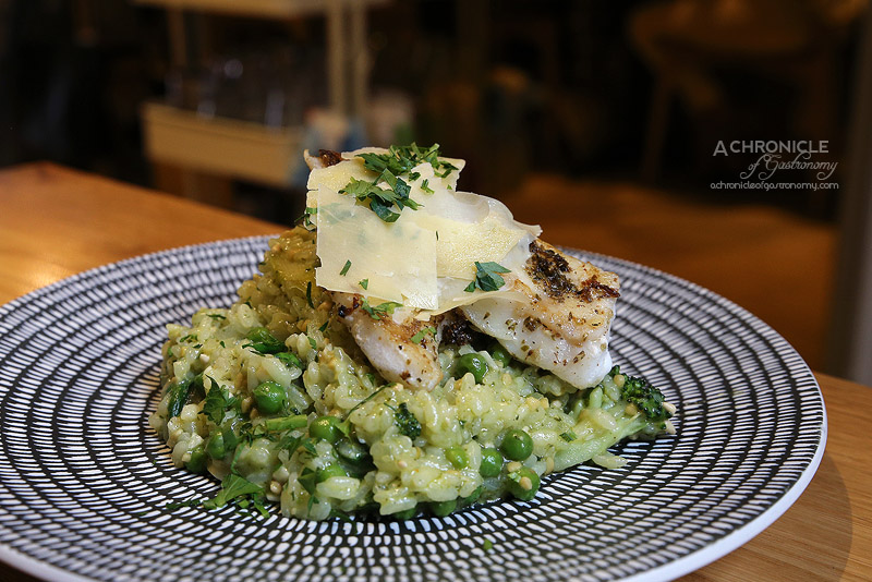 Cafe AMBA - Green Risotto with Rockling Fillet - Slow cooked Arborio ...