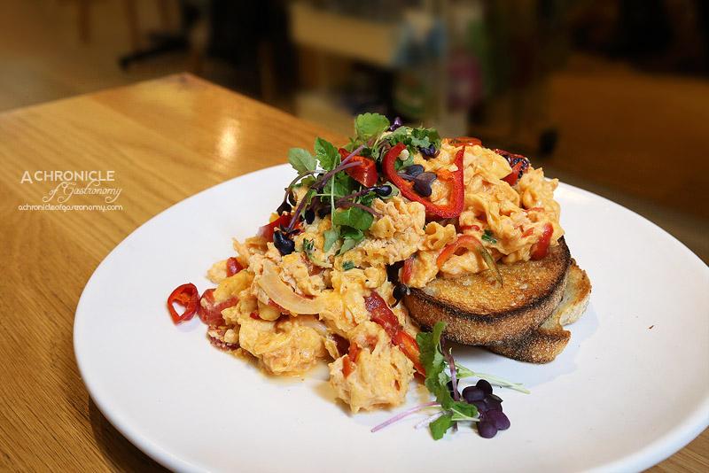 Cafe AMBA - Eggs Piperade - Scrambled eggs with red pepper, chive, tomato & chilli ($14)