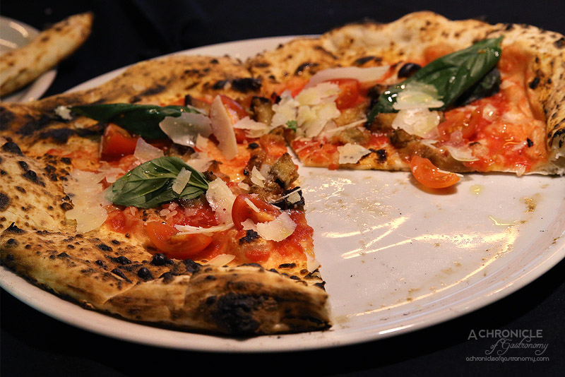 Eat'aliano by Pino - Parimigiana pizza - San Marzano tomatoes, eggplant, parmigiano, cherry tomato, basil ($17.50)