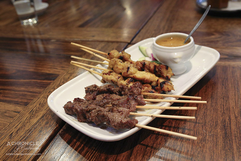 Okra - Sate sapi dan ayam - char-grilled beef and chicken skewers (4 for $12)