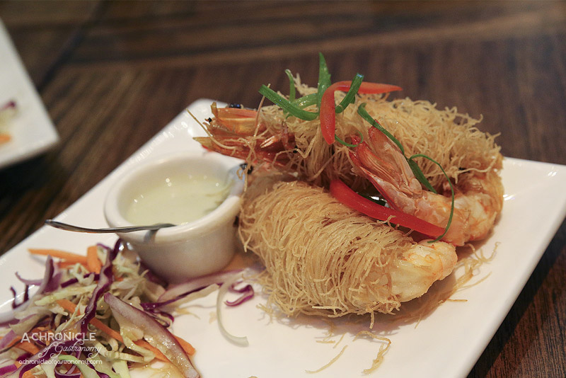Okra - Filo wrapped king prawns with wasabi mayonnaise ($7 each)