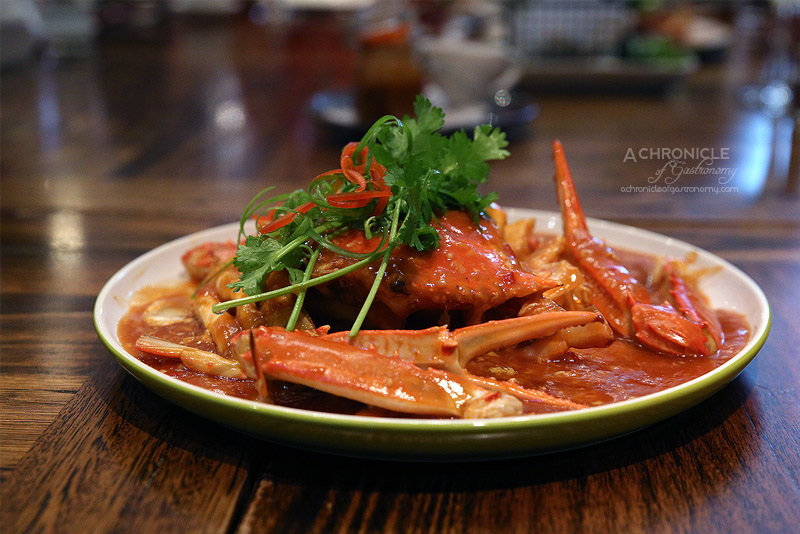 Okra - Fresh Blue Swimmer Crabs with Malaysian Style Chilli Crab sauce (12 serve, $20)