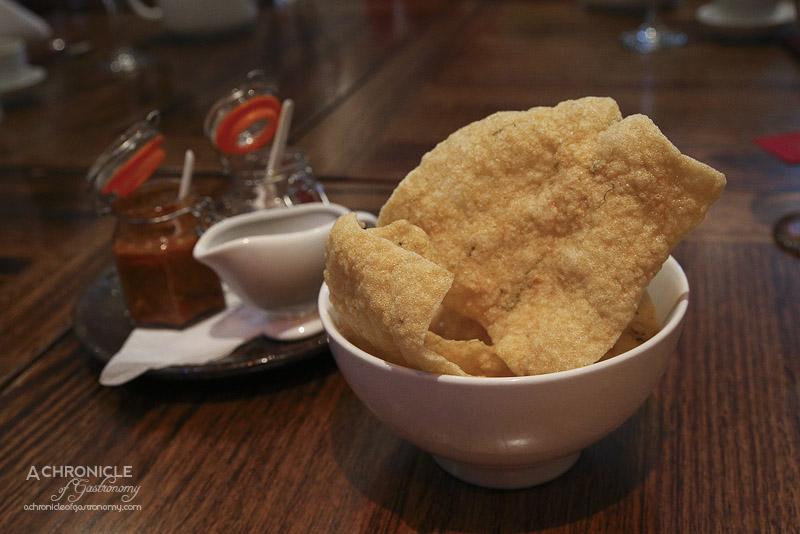 Okra - Cassava crackers with sambal