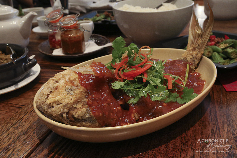 Okra - Pla Sam Rod - Crispy whole snapper with tamarind, chilli, onion and garlic ($39.90)