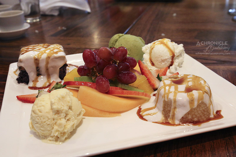 ... coconut cream, seasonal fruits, durian, coconut, green tea ice cream