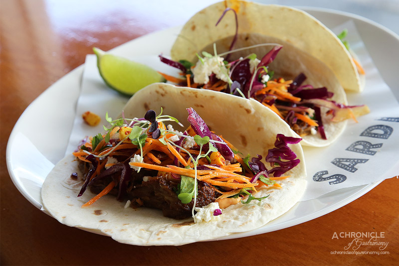 Sardi - Slow cooked Lamb Shoulder Tacos with red pepper mayo, chargrilled corn and red cabbage salsa ($18.50)