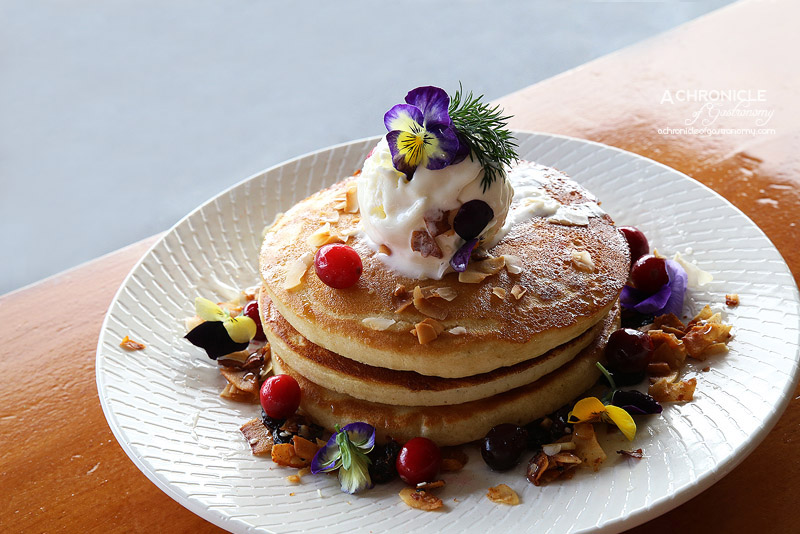 Sardi - Lychee 'n' Coconut Hotcakes with toasted coconut, almond and cranberry granola, caramelised lychee syrup, ice cream ($17.50)