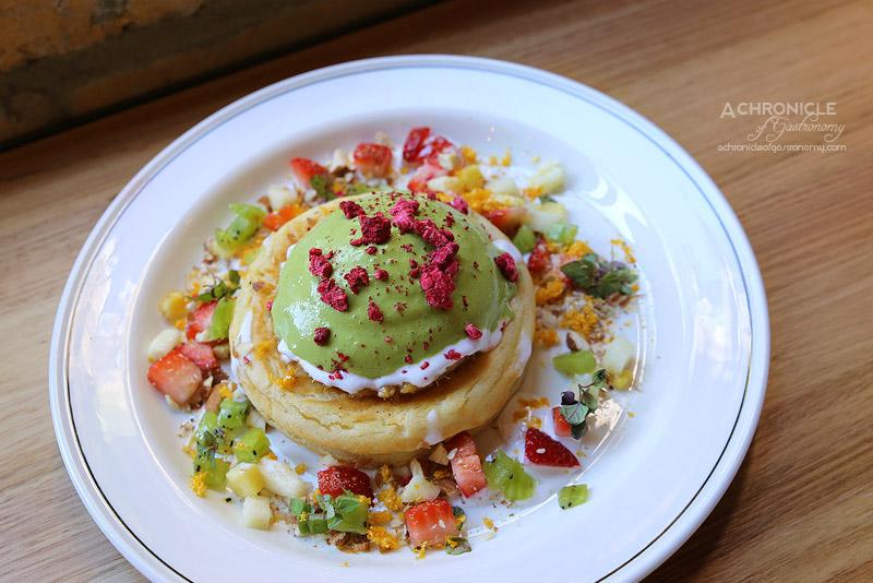 Sartoria - The Designer - buffalo yoghurt hotcakes, activated nuts, green tea cream, caramelised pineapple, salted kara ($17.50)
