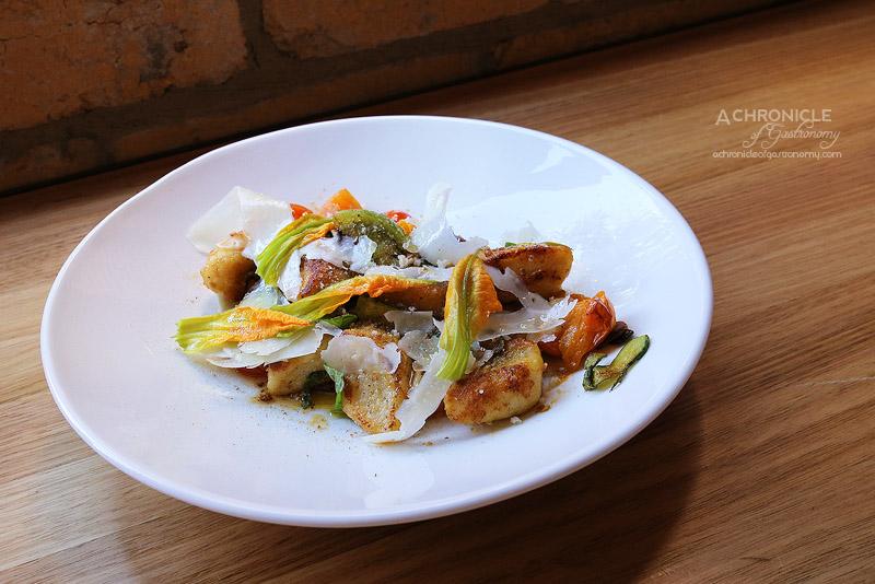 Sartoria - The Organza - ricotta gnocchi, zucchini flower, cherry tomatoes, pangrattato, mint, chilli, pecorino ($18)