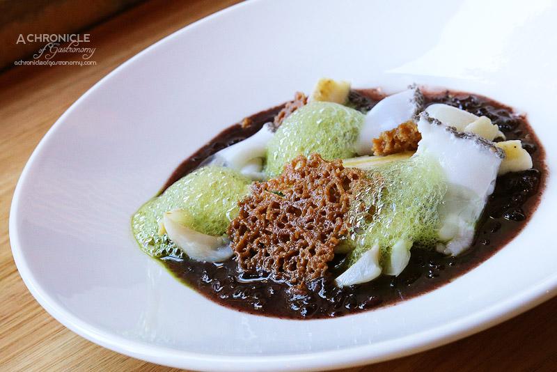 Sartoria - The Necchi - Sticky black rice pudding, banana, lychee, young coconut black chia jelly, matcha foam ($15)