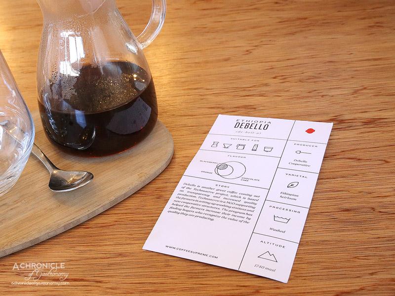 Seven:am - Debello Ethiopia - Coffee Supreme Filter Coffee - Chocolate Cake, Orange, Blackberry ($4.40)