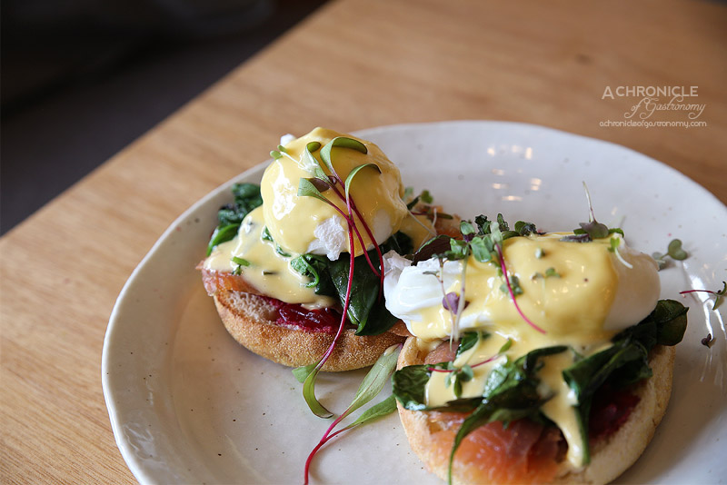 Seven:am - Emperor - Poached eggs, spinach, orange and beetroot relish & hollandaise on English muffins with smEmperor - Poached eggs, spinach, orange and beetroot relish & hollandaise on English muffins with smoked salmon ($18)oked salmon ($18)
