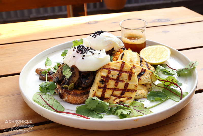Street Talk Espresso - Peter Peter Pumpkin Eater Bruschetta - Roast Pumpkin smash, wild mushroom medley, poached eggs, coriander shoots, local charred halloumi, lemon + beurre noisette ($18)