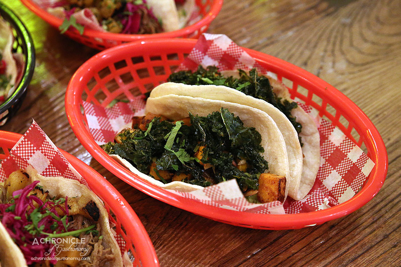 Village Cantina - Pumpkin Taco - roasted pumpkin, crispy kale, avocado crema, pepitas ($7 for one, $12 for two)