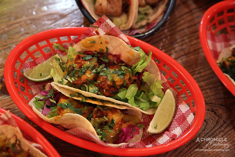 Village Cantina - Gambas Taco - Grilled spicy prawns, lettuce, red cabbage, mango coulis ($7 for one, $12 for two)